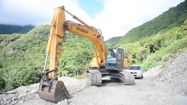 A 29-ton excavator, one of four new pieces of equipment purchased by the Nevis Housing and Land Development Corporation for the Nevis Island Administration-owner New River quarry