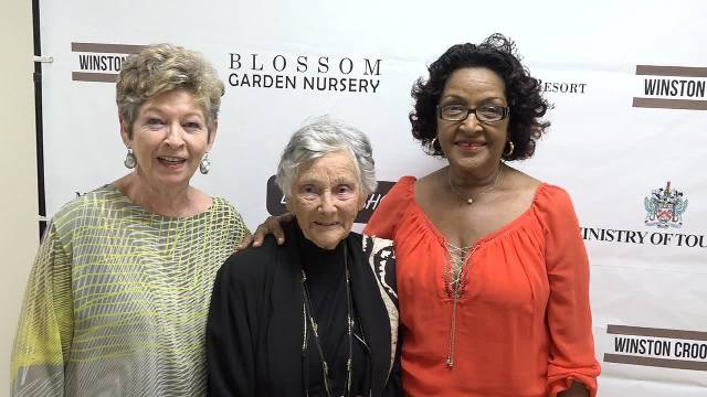 "Renowned British author and historian Dr. June Goodfield (middle) with (left) Production Manager and personal friend Helen Kidd and (right) Nevisian friend, interviewed for the film, Jeanette Grell-Hull at the premiere of ""The Time Detective"" at a VIP event hosted with the Ministry of Tourism at the Social Security's conference room at Pinney's on January 14, 2017"