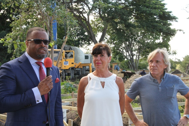 (l-r) Acting Premier of Nevis and Minister of Tourism Hon. Mark Brantley; Paradise Beach, Nevis General Manager Donna Woolfenden and Project Manager Peter Tantram at the site of the resort's expansion works on January 09, 2017