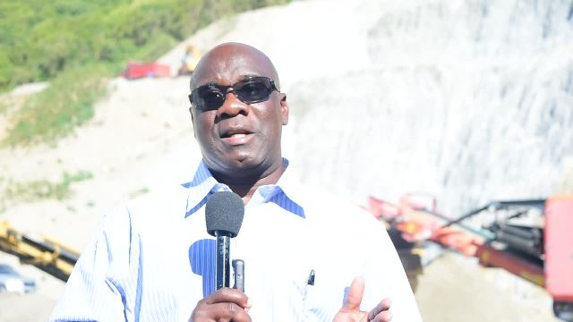 Hon. Alexis Jeffers, Minister of Housing and Lands on Nevis and Chairman of the Nevis Housing and Land Development Corporation at the New River quarry on January 05, 2017