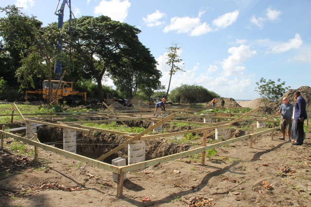 Ongoing works at the on the expansion of Paradise Beach, Nevis on January 09, 2017