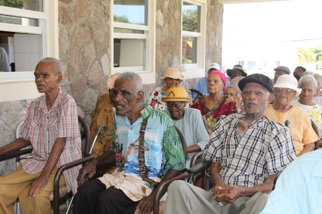 "A section of residents at the Flamboyant Nursing Home in Nevis during the birthday celebration of the home's oldest resident, 105-year-old Celian ""Martin"" Powell on January 19, 2017"