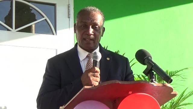 Premier of Nevis Hon. Vance Amory, delivering an address at the official opening ceremony of the Joycelyn Liburd Primary School's cafeteria in Gingerland on February 14, 2017
