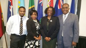 Photo caption: (L-r) Gary Liburd, Chief Labour Officer, Rhonda Nisbett-Browne Legal Counsel in the Nevis Island Administration, Shernel James, Acting Labour Commissioner in St. Kitts and Nevis and Minister of Labour in St. Kitts and Nevis and Premier of Nevis Hon. Vance Amory on February 22, 2017, at the 10th annual International Labour Organization meeting at the Jamaica Pegasus Hotel in New Kingston