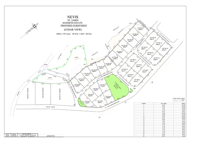 The layout of the Nevis Cedar View Housing Development Project at Maddens