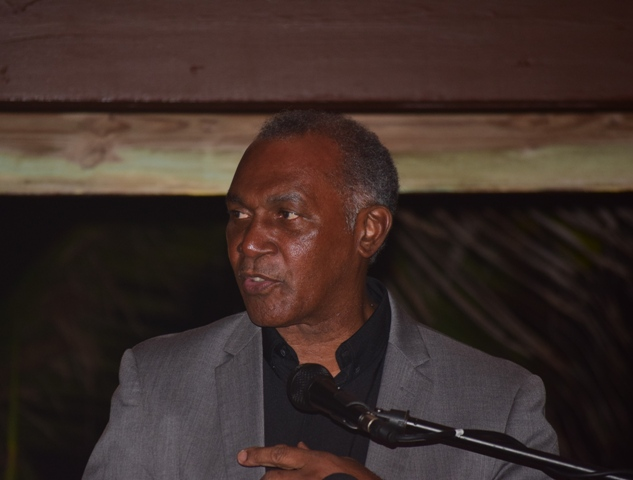 Premier of Nevis Hon. Vance Amory delivering remarks at the 2nd Annual ITD Delta Awards Dinner at the Nisbet Plantation Beach Hotel on February 18, 2017