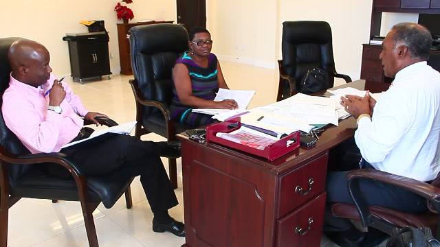 Premier of Nevis Hon. Vance Amory at a meeting with Principal Education Officer Palsy Wilkin and Permanent Secretary in the Ministry of Education Wakely Daniel at his Pinney's Estate office on February 03, 3017