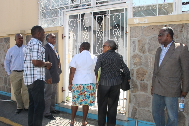 Members of the Board of Counsellors of the  St. Kitts and Nevis Sugar Industry Diversification Foundation led by Chairperson Dr. Robertine Chaderton touring the sight for the new Treasury building in Charlestown. They are accompanied by Hon Vance, Premier of Nevis and Minister of Finance in the Nevis Island Administration and Permanent Secretary in the Ministry of Finance Colin Dore