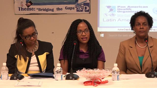 (L-R) Dr. Patrice Lawrence William, PAHO's Country Programme Specialist, Permanent Secretary in the Ministry of Health Nicole Slack-Liburd and Dr. Judy Nisbett, Medical Officer of Health at the launch of the Prinatal Information System on February 14, 2017 at the Nevis Disaster Management Office conference room at Long Point