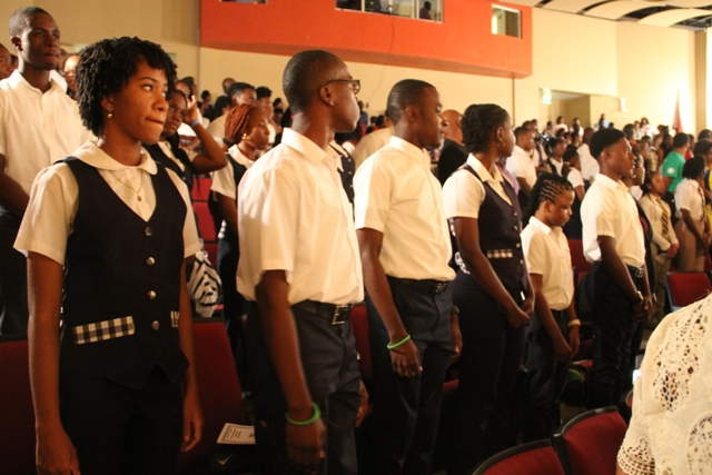 A section of those in attendance at the opening ceremony of the 45th annual Leeward Islands Debating Competition at the at the Nevis Performing Arts Centre on February 23, 2017