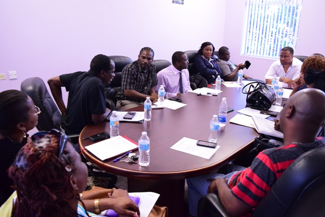 Hon. Mark Brantley, Deputy Premier and Minister of Culture in the Nevis Island Administration meeting with committee members of the 2017 Culturama festival, at the Administration's conference room in Charlestown on February 21, 2017