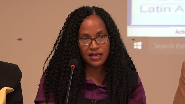 Permanent Secretary in the Ministry of Health Nicole Slack-Liburd delivering remarks at the launch of the Prinatal Information System on behalf of the Minister of health Hon. Mark Brantley at the at the Nevis Disaster Management Office conference room at Long Point on February 14, 2017