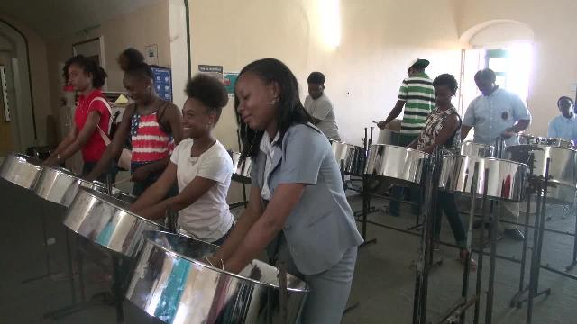 Young elite pan players on Nevis, at the first session of the Steel Pan Training Workshop at Bath Hotel, Bath Plain on February 23, 2017