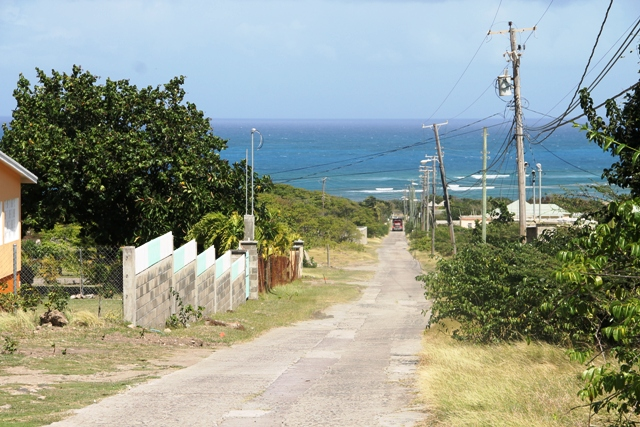 A section of Shaws Road in Newcastle from the top looking towards the Island Main Road below will be redone under the Nevis Island Administration's Shaws Road Improvement Project