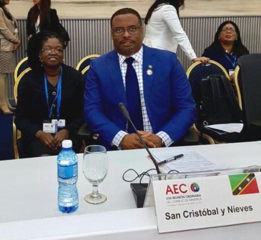 Minister of Foreign Affairs in St. Kitts and Nevis Hon. Mark Brantley at the XXII Association of Caribbean States Ministerial Council in Havana. He is accompanied by Mrs. Verna Mills, chargé d'affaires at the St. Kitts and Nevis Embassy in Cuba