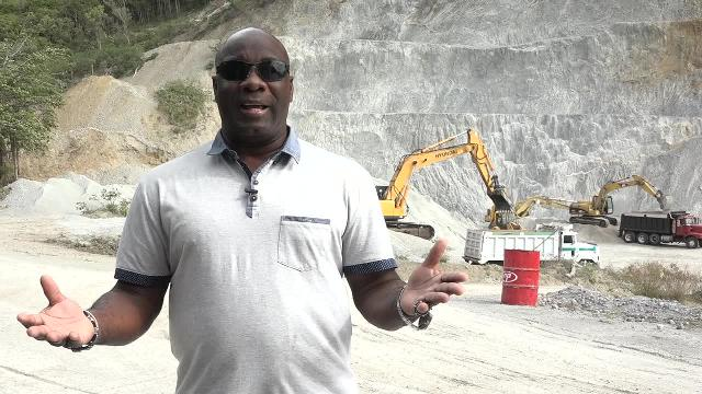 Hon. Alexis Jeffers, Minister responsible for Natural Resources in the Nevis Island Administration and Chairman of the Nevis Housing and Land Corporation's Board of Directors, at the quarry at New River on February 28, 2017