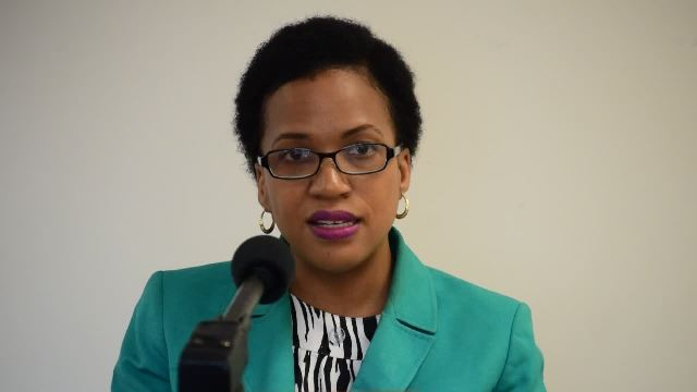 Nicole Slack-Liburd, Permanent Secretary in the Ministry of Health on Nevis, delivering remarks at the opening ceremony of a two-day Stakeholder Consultation for the National Multi-sectoral Action Plan for Non-Communicable Diseases at the Nevis Disaster Management Department conference room at Long Point on March 23, 2017