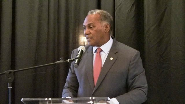 Hon. Vance Amory, Premier of Nevis and Minister of Finance in the Nevis Island Administration delivering an address at the opening ceremony of the Nevis Financial Services (Regulatory and Supervision) Department's 2017 Anti-Money Laundering/Counter Financing of Terrorism Awareness Seminar and Training Workshop, at the Four Seasons Resort on March 07, 2017