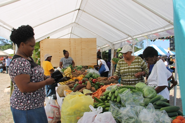 Patrons purchasing local produce at the 23rd Annual Agriculture Open Day hosted by the Ministry and Depart of Agriculture in the Nevis Island Administration at the Villa Grounds, Charlestown on March 30, 2017