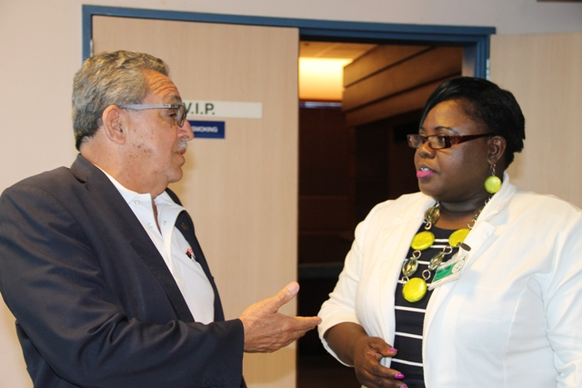 Junior Minister of Youth and Sports on Nevis Hon. Hazel Brandy-Williams with Mr. Victor Lopez, President of the North America Central America and Caribbean Athletics Association (NACAC) and Council Member of the International Association of Athletics Federations at the Vance W. Amory International Airport on March 10, 2017