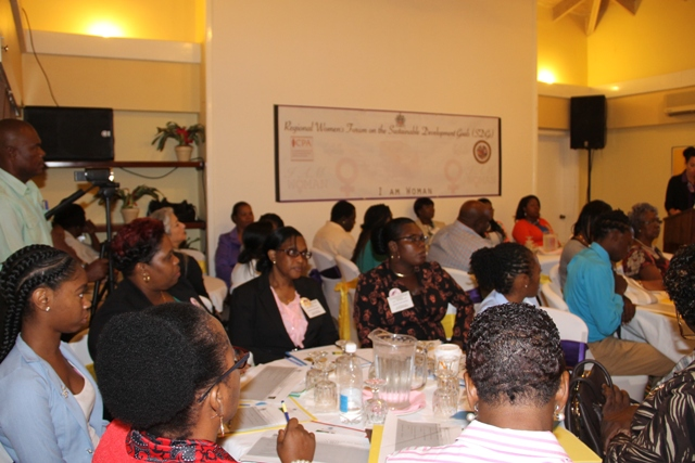 A section of participants at the Sub-Regional Women's Forum on the SDGs hosted by the Ministry of Social Development in the Nevis Island Administration in collaboration with the Commonwealth Women Parliamentarians and supported by the Organisation of American States at the Mount Nevis Hotel on March 22, 2017