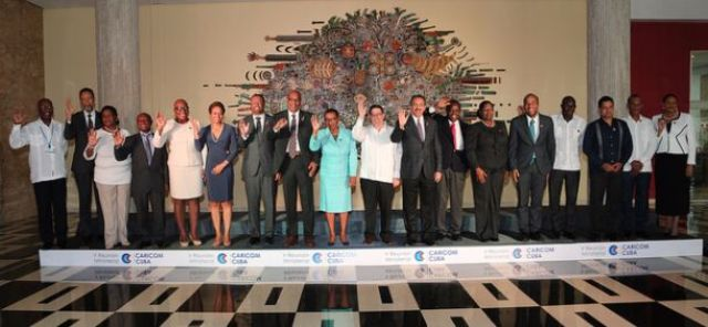 Minister of Foreign Affairs in St. Kitts and Nevis Hon. Mark Brantley (seventh from left) at the 5th meeting in Havana, Cuba, of Foreign Affairs Ministers of the Caribbean Community and the Republic of Cuba