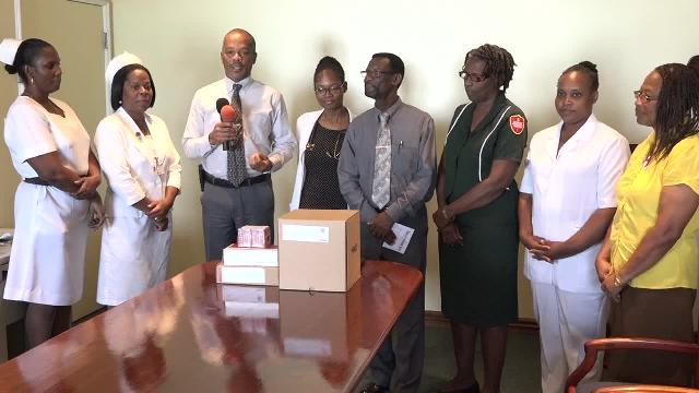 (L-R) Nurse Manager Joya Parry-Lake, Matron Aldris Dias, Hospital Administrator Gary Pemberton, Outpatient Dr Florelle Hobson, Senior Pastor and Island Coordinator of the Seventh Day Adventist Church Stanton Adams, Sylvia Parry Community Services Leader, Health and Temperance Director Robeana Wilkinson and Varina Williams Treasurer