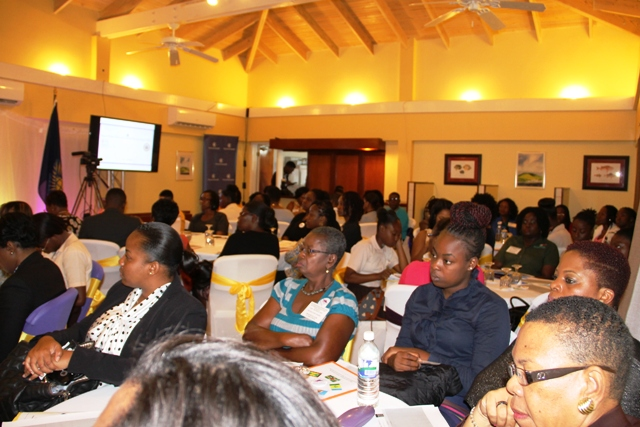 A section of participants at the Sub-Regional Women's Forum on the Sustainable Development Goals hosted by the Ministry of Social development in collaboration with the Commonwealth Women Parliamentarians and support from the Organization of American States at the Mount Nevis Hotel on March 22, 2017