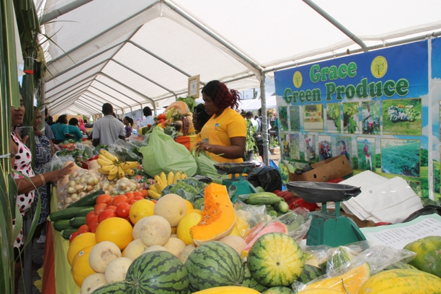 Local produce on sale at the Grace Green Produce booth at the 23rd Annual Agriculture Open Day hosted by the Ministry and Depart of Agriculture in the Nevis Island Administration at the Villa Grounds, Charlestown on March 30, 2017