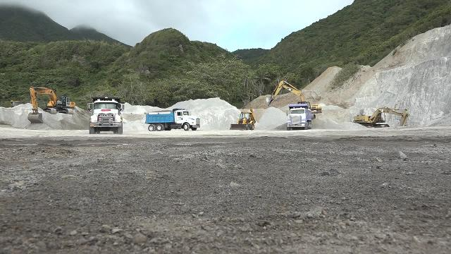 Local truckers at the quarry at New River on February 28, 2017, fill up with aggregate at the, bound for the Long Point Port for shipment to St. Maarten