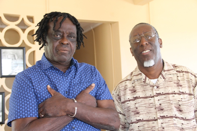 "(l-r) Justin ""Hero"" Caslell, renowned Montserratian Calypsonian and Soca Artist and facilitator of a Calypso Writing Workshop on Nevis and Antonio Abonaty Liburd, Chairman of Culturama 2017 at the Hardtimes Community Centre on April 19, 2017"