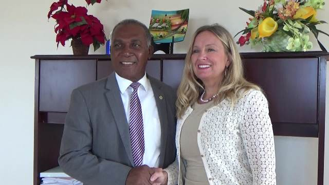 Premier of Nevis Hon. Vance Amory and Her Excellency Ms. Elisabeth Eklund, Sweden's newly accredited Ambassador to St. Kitts and Nevis and CARICOM at his Pinney's Estate office on April 20, 2017