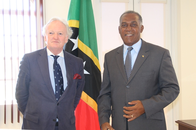Premier of Nevis Hon. Vance Amory (r) and Dr. David Doyle, St. Kitts and Nevis Permanent Representative to the United Nations Educational, Scientific and Cultural Organization at the Premier's office, Pinney's Estate on April 11, 2017