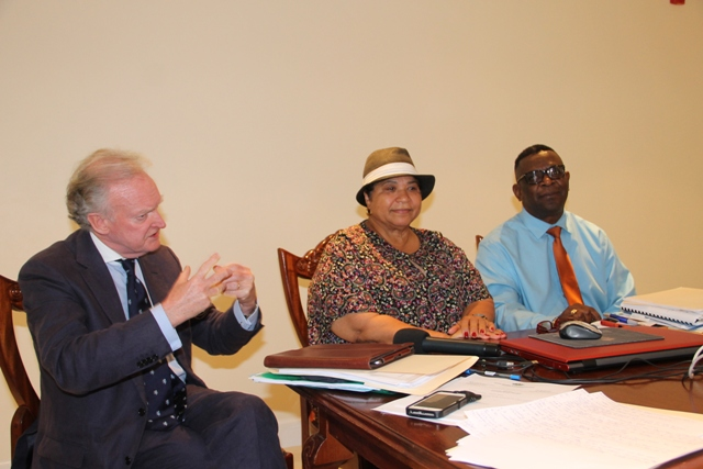 (L-r)) St. Kitts and Nevis Permanent Representative to the United Nations Educational, Scientific and Cultural Organization and Mrs. Evelyn Henville, Executive Chairperson of the World Heritage Committee and Mr. Antonio Maynard Secretary General of the St. Kitts and Nevis National Commission for UNESCO