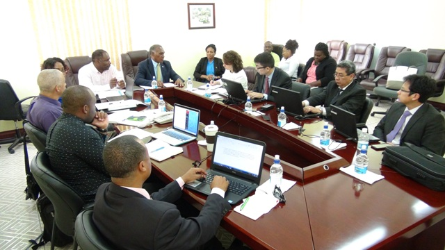 Hon. Vance Amory, Premier of Nevis and Minister of Finance and his team from the ministry, in session with an International Monetary Fund mission team at the ministry's Conference room on April 21, 2017