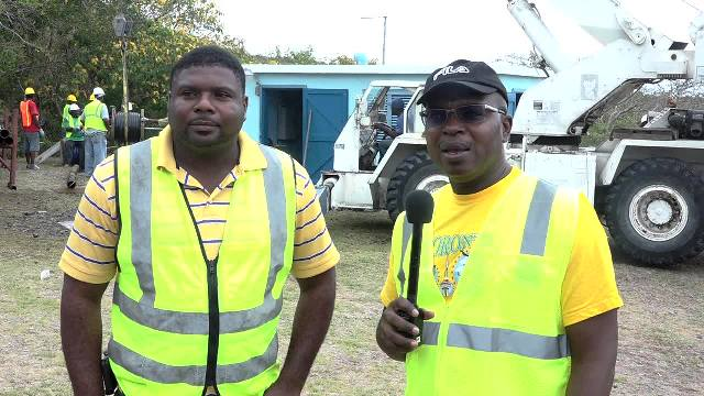 (L-r) Hon. Troy Liburd, Junior Minister in the Ministry responsible for Public Utilities on Nevis and Dr. Ernie Stapleton, Permanent Secretary in the Ministry of Communication, Works and Public Utilities at the Bedrock Exploration and Development Technologies Maddens Pumping Station on April 15, 2017