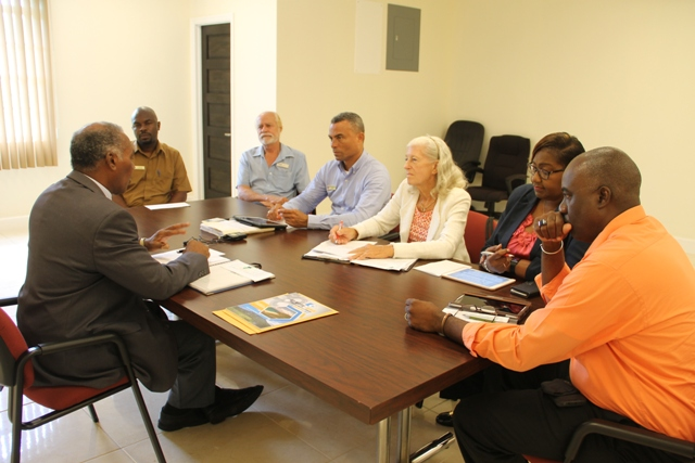Premier of Nevis Hon. Vance Amory meeting with executive members of the Nevis Division of the St. Kitts Nevis Chamber of Industry and Commerce (l-r) Warren Moving, Treasurer, John Yearwood, Ernie France, Chairperson, Deborah Lellouche, Alice Tyson and Oscar Walters, at the Premier's Ministry conference room at Pinney's Estate on May 10, 2017