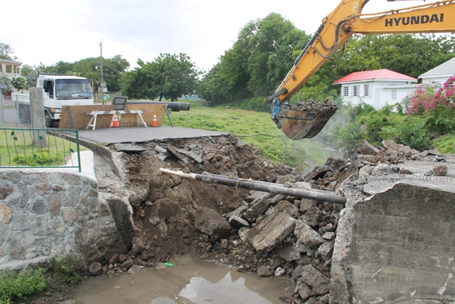 Demolition of the Bath Village Bridge on May 25, 2017, paving the way for reconstruction of a new bridge by the Public Works Department on Nevis