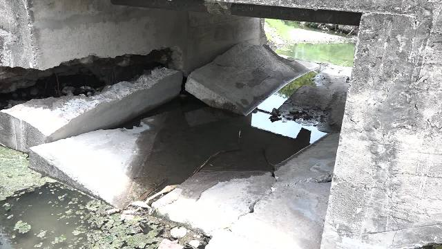 A close-up of severe damage to Bath Bridge on May 15, 2017, after recent heavy rains