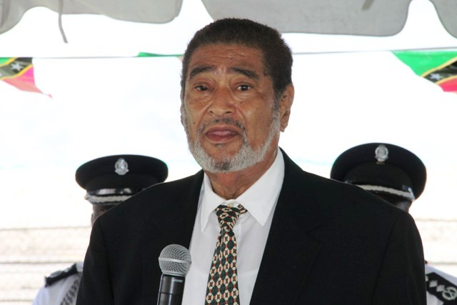 Deputy Governor General of St. Kitts and Nevis His Honour Eustace John addressing officers of the St. Christopher and Nevis Police Force Nevis Division at their annual Independence Day toast on September 19, 2016, at the Cicely Grell Hull-Dora Stephens Netball Complex (File photo)