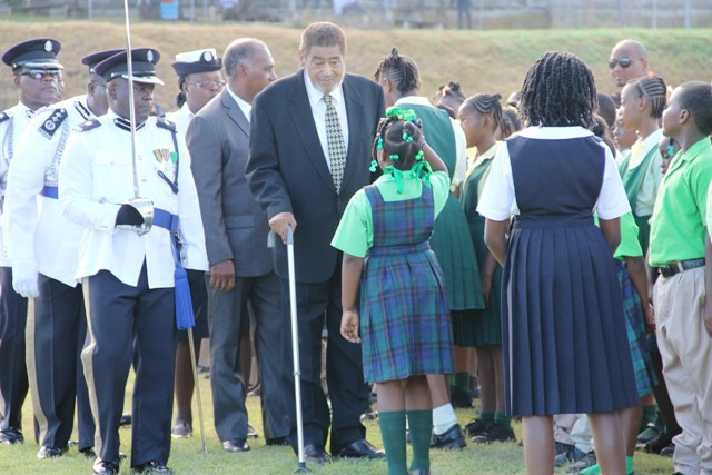 Deputy Governor General of St. Kitts and Nevis His Honour Eustace John inspects the troops for the last time, at the 33rd Independence Day Ceremonial Parade and Awards Ceremony at the Elquemedo T. Willett Park in September 19, 2016