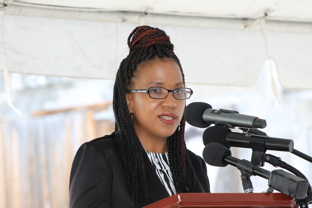 Permanent Secretary in the Ministry of Health Nicole Slack-Liburd delivering remarks at the ground-breaking ceremony on May 31, 2017, for the Alexandra Hospital Expansion project