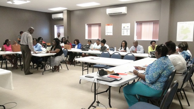A section of participants at the three-day School Safety Course at the Nevis Disaster Management Department's conference room at Long Point