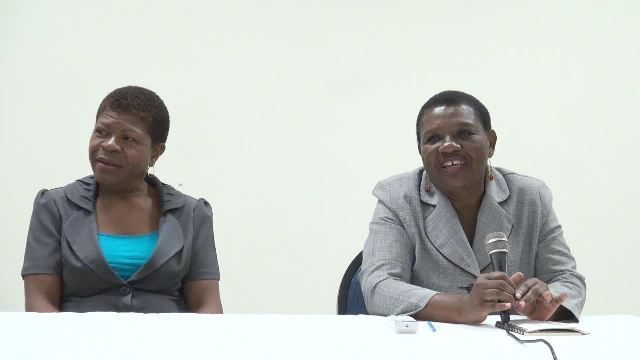 (l-r) Ann Jean-Baptiste, Coordinator of the United States Agency for International Development/Office for Foreign Disaster Assistance and Principal Education Officer in the Nevis Island Administration Palsey Wilkin