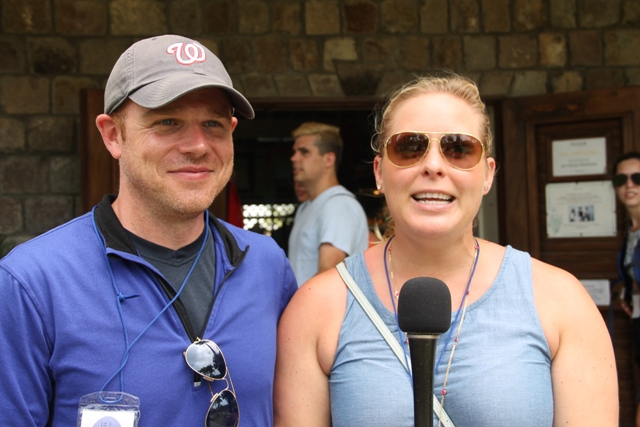 Tim and Kate from the United States of America during their first visit to Nevis on tour at the Botanic Gardens on June 27, 2017