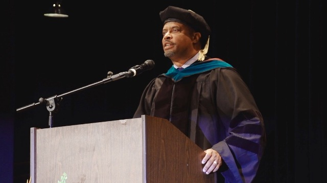 Deputy Premier of Nevis Hon. Mark Brantley delivering the commencement address at the graduation ceremony for students of the Medical University of the Americas and the Medical University of Saba at the Veterans Memorial Auditorium in Rhode Island on June 03, 2017