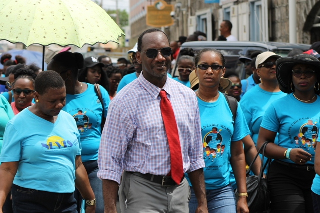 Mr. Kevin Barrett, Permanent Secretary in the Ministry of Education on Nevis at the 32nd annual Child Month Parade on June 09, 2017