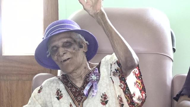 St. Kitts and Nevis' most recent centenarian Eileen Swanston Smithen of Gingerland at a thanksgiving service in celebration of her 100th birthday on June 20, 2017, at the Zion Gospel Hall