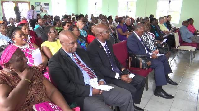 A section of well-wishers at the thanksgiving service in honour of Eileen Swanston Smithen's 100th birthday on June 20, 2017 at the Zion Gospel Hall in Gingerland