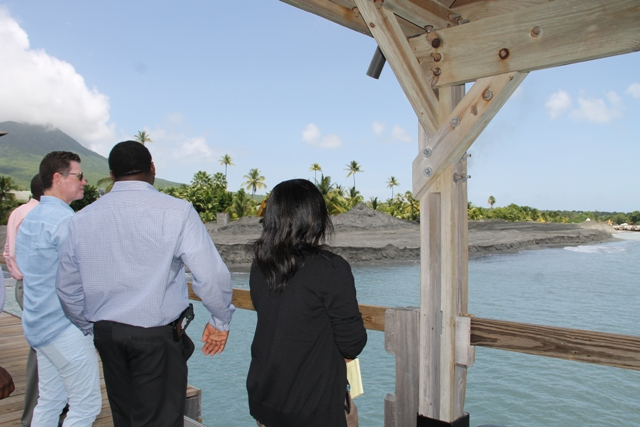 A team from the Ministry of Communication and Works and the Physical Planning Department visiting the Four Seasons Resort's dredging project with General Manager Ed Gannon on June 13, 2017